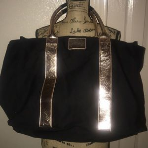 Victoria Secret Canvas Rosegold trim tote. XL